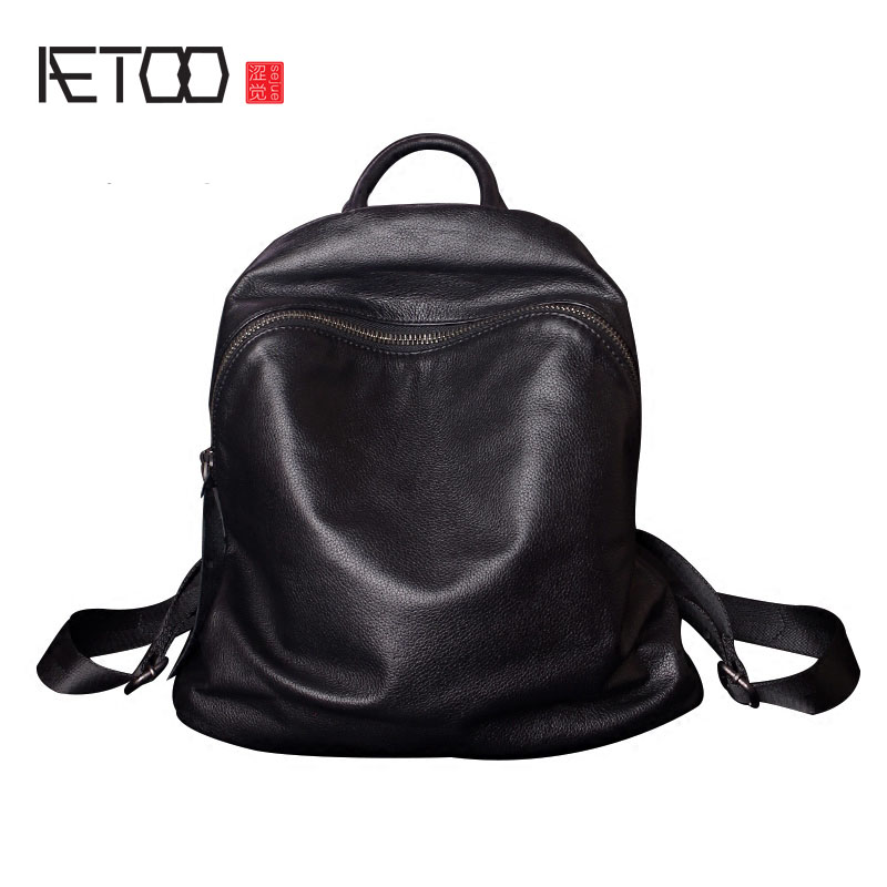 AETOO Soft leather shoulder bag large capacity female leather new simple wild travel first layer of leather backpack aetoo first layer of leather shoulder bag female bag korean version of the school wind simple wild casual elephant pattern durab