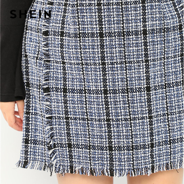 SHEIN Plus Size Frayed Trim Hem High Waist Blue Plaid Tweed Mini A-Line Skirt Women High Street Short Skirt 4