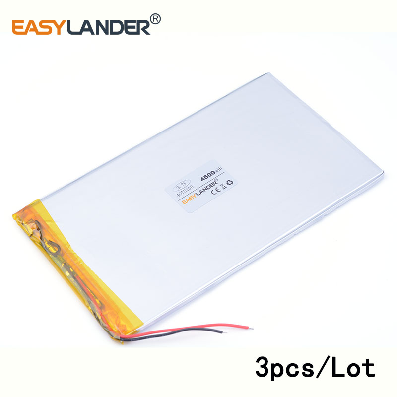 3pcs /Lot 4500 mah 4075150 3.7v lithium Li ion polymer 9 inches tablet battery domestic the built-in rechareable battery ...