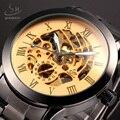 SHENHUA Ouro Mecânica Assista Men Marca de Luxo Relógio Do Esporte de Aço Inoxidável Mens Automatic Skeleton Relógios Relogio masculino