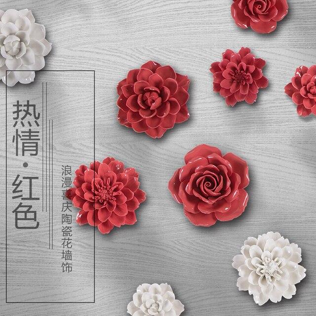 Красный белый цветы, декоративные настенные цветок блюда фарфоровые декоративные тарелки старинные домашнего декора ремесленных ремесел украшения комнаты