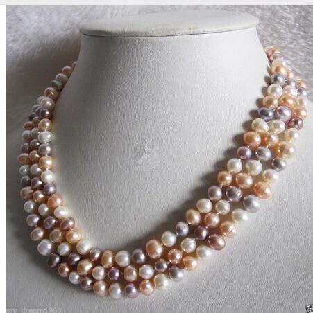Women Gift Freshwater Jewelry Natural Baroque 8-9MM LONG White Pink Purple Pearl Necklace 48