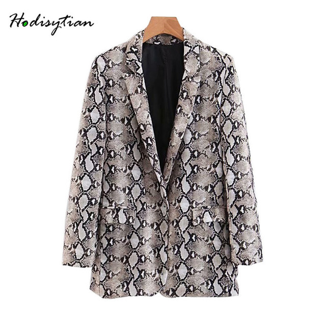 Hodisytian Autumn 2018 Fashion Blazer For Women Snake Skin Print Casual Suits Jacket Coat Blazer Outwear Overcoat Female Blaser