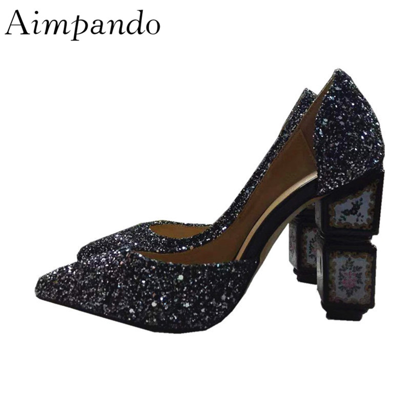 Lado Boda Color Alto Recortes Los Impreso Dedos Zapatos Lentejuelas Punto Glitter Plata Bombas De Black Retro Pies silver Mujer Mujeres Nupcial Bling Tacón wq60nTX
