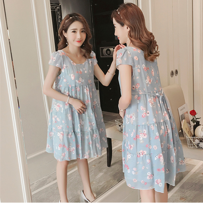 BAHEMANA Maternity Dress 2018 Print Chiffon Maternity Dress Elegant Summer Korean Fashion Clothing Office Maternity