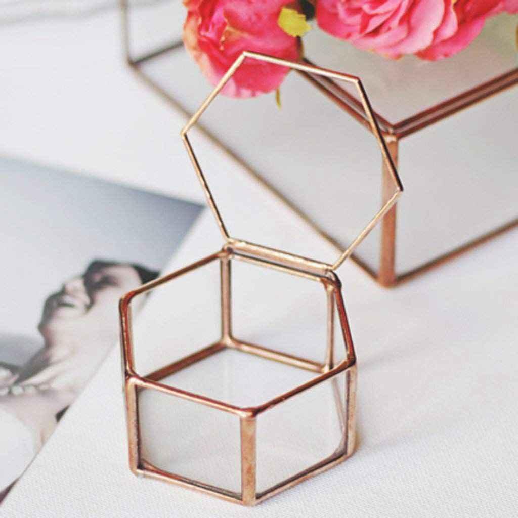 Caixa de Caixa de Jóias de Vidro Terrário De Vidro geométrica Planta Suculenta Pote Deco Forma de Hexágono