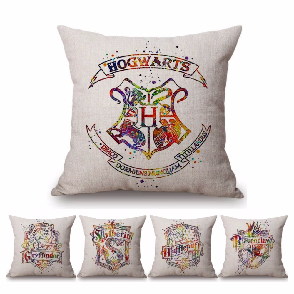 18 Square Harry Potter Home Decor Cushion Cover 4 Houses Hufflepuff Gryffindor Slytherin Ravenclaw Cotton Linen Pillow Cases