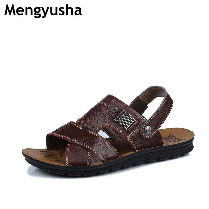 Mengyusha 2018 England Cow Leather Men Sandals Black Brown Hand Sewing Men Summer Shoes Breathable Beach Shoes Summer Men Shoes