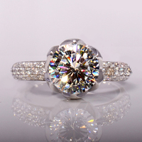 Wholesale 3 Carat Flower Shaped SONA Simulated Diamant Wedding Rings for Women Solid 925 Silver Engagement Band Ring ZR174