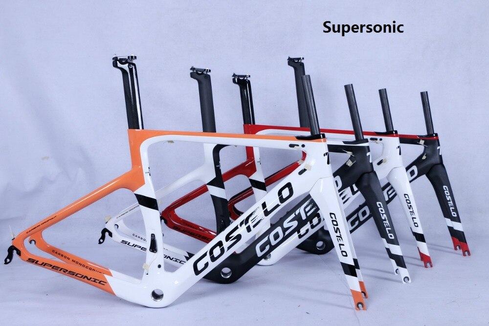 2019 Costelo Supersonique Route carbone vélo cadre disque de frein Thru essieu vélo T800 3 k weave carbone cadre fourche tige de selle