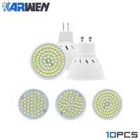 KARWEN GU10 MR16 E27 E14 bombilla LED AC220V Bombillas LED lámpara 2835 SMD proyector 48 60 80 LEDs lámpara Luz 10 unids/lote