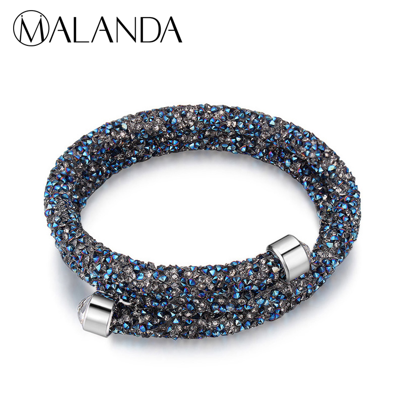 MALANDA Brand Double Circle Charm Bracelet Crystal From Swarovski Bracelets Bangles For Women Wedding Jewelry Cuff Bangle Gift delicate double layered cuff bracelet for women
