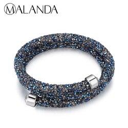 MALANDA Brand Double Circle Charm Bracelet Crystal From Swarovski Bracelets Bangles For Women Wedding Jewelry Cuff Bangle Gift