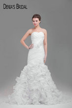 Actual Images Sweetheart Pleats Mermaid Wedding Dresses with Flowers Sleeveless Organza Ruffles Chapel Train Bridal Gowns