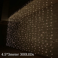 4 5M X 3M 300LED Outdoor Home Christmas Decorative Xmas String Fairy Curtain Strip Garlands Party
