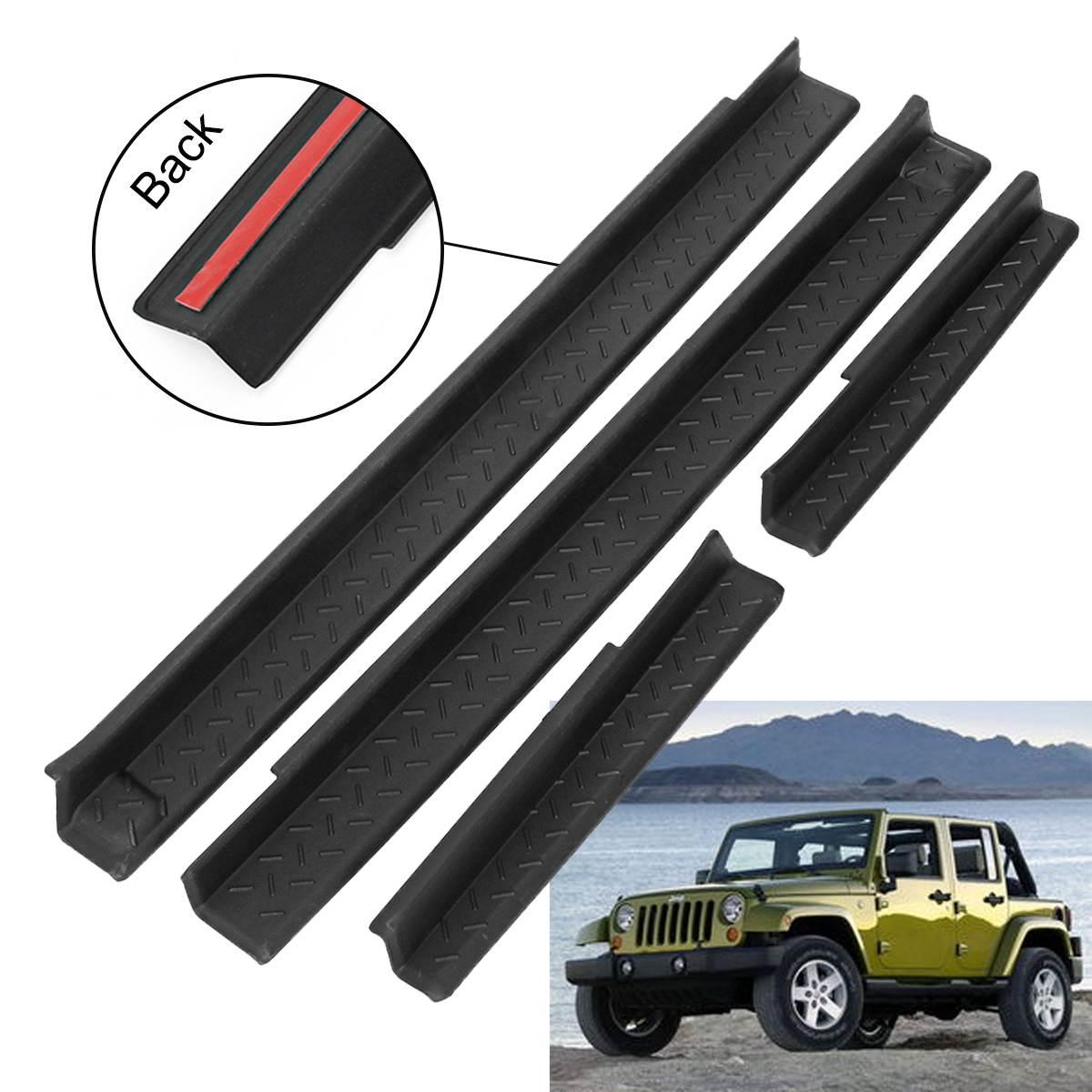 4 шт. дверная пластина порога Входная ЗАЩИТА края двери передняя/задняя пластины автомобильные дверные панели для Jeep для Wrangler 2007-2017