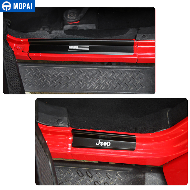 Image 4 - MOPAI New Style USA Flag Logo Skull Door Sill Scuff Plate Protector Welcome Pedal for Jeep Wrangler JK 2007 2016 Car Styling-in Pedals from Automobiles & Motorcycles
