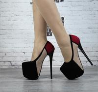 2018 women autumn new super high heel 17 cm with waterproof platform 7cm three colors contrast pumps female slim high heel shoes