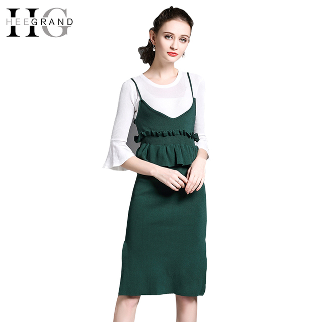 Hee Grand 2018 Knitted Ol Autumn Spring Women Suits Skirts Workwear