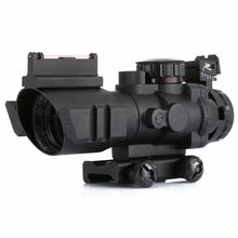 Hot 4x 32 RGB ACOG Style Tri Illuminated Combo Compact Fiber Optics Red Green Dot Sight