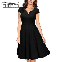 SHIBEVER Women Summer Party Dresses Sexy V Neck Elegant Dress Vintage Casual Solid Ladies Dresses Plus