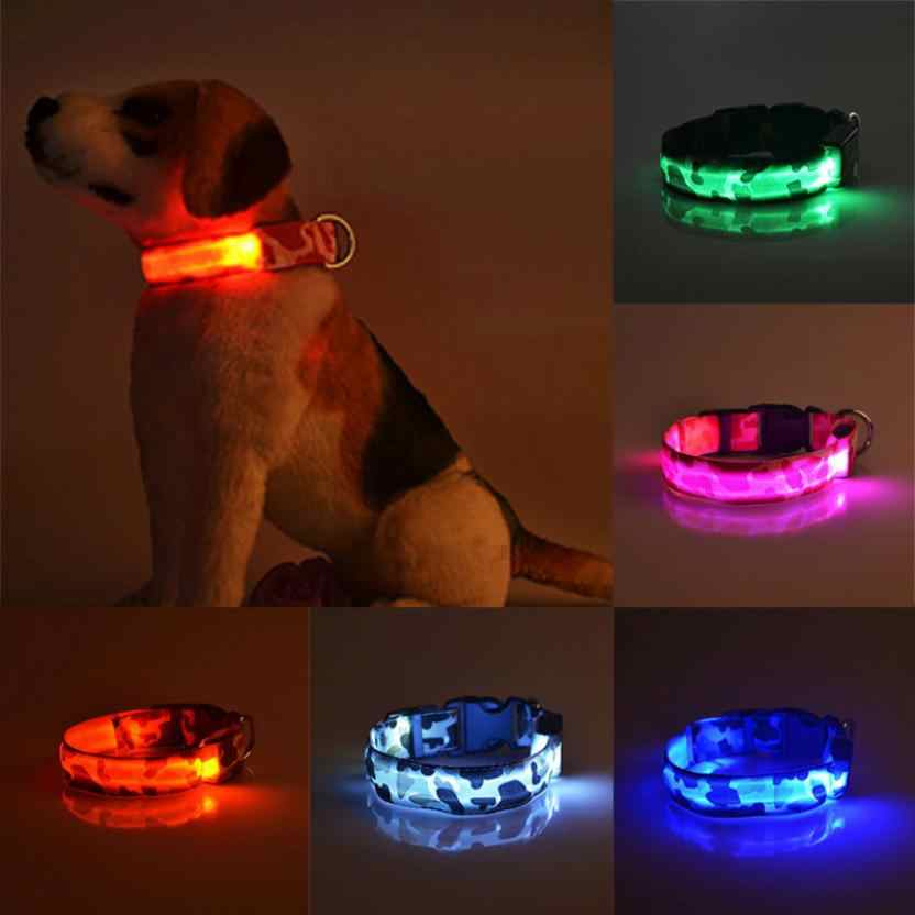 Dogs Luminous Fluorescent Collar Pet Supplies Nylon Dog Collar Night Safety LED Glow Dog Harness Cat Collar Glow In The Dark #R5