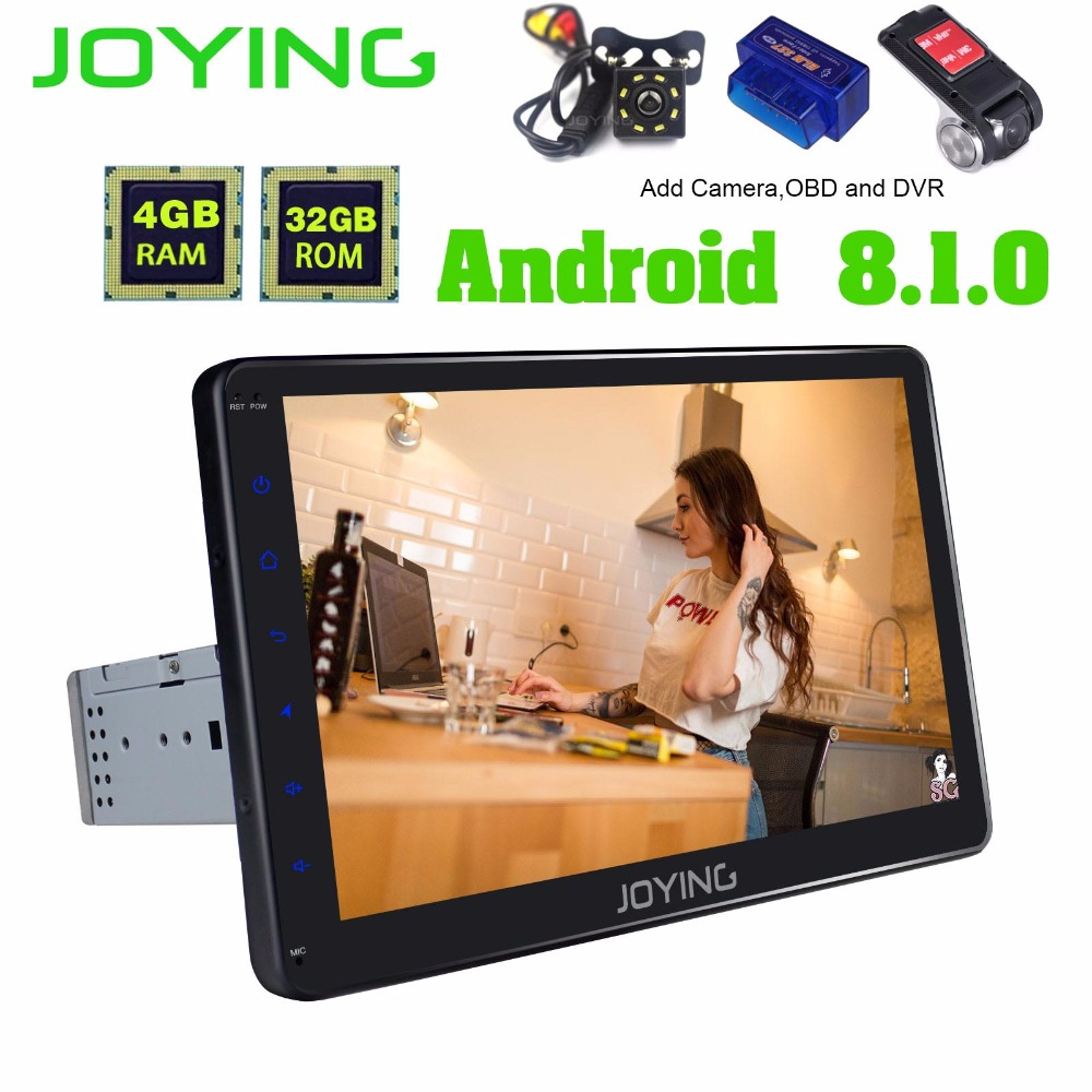 "Joying 10.1"" Single Din Android 8.1 Car Radio Stereo GPS Navigation Universal Head Unit 1024*600 Octa Core 4GB Multimedia Player"