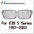 Серебрение Рамка Передней Черный Почек Гонки Решетки с Половина Серебристый Цвет для BMW E39 525 528 530 540 1997-2003