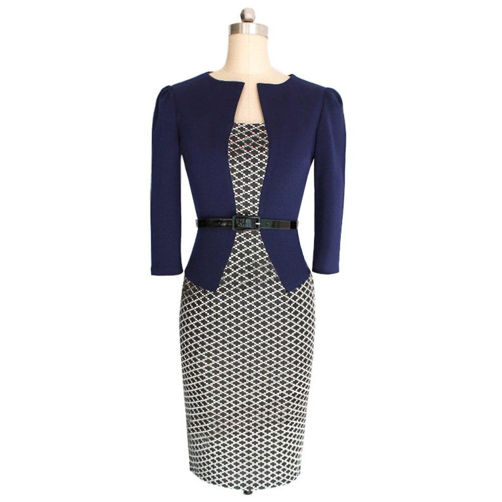 074db01e6a29 Nueva moda 2016 mujeres Formal Bodycon vestido elegante Plaid manga larga  lápiz vestidos de oficina ropa de trabajo de las mujeres