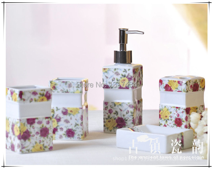 Five Piece Yellow And Red Rose Ceramic Bathroom Set Toiletries Toothbrush  Holder Tooth Mug Bathroom Accessories In Bathroom Accessories Sets From  Home ...