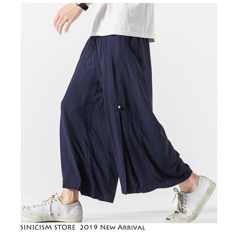 Sinicism Store Men Summer Wide Leg Pants Streetwear 2020 Print Chinese Style Joggers Pants Mens Vintage Casual Buckle SweatPants