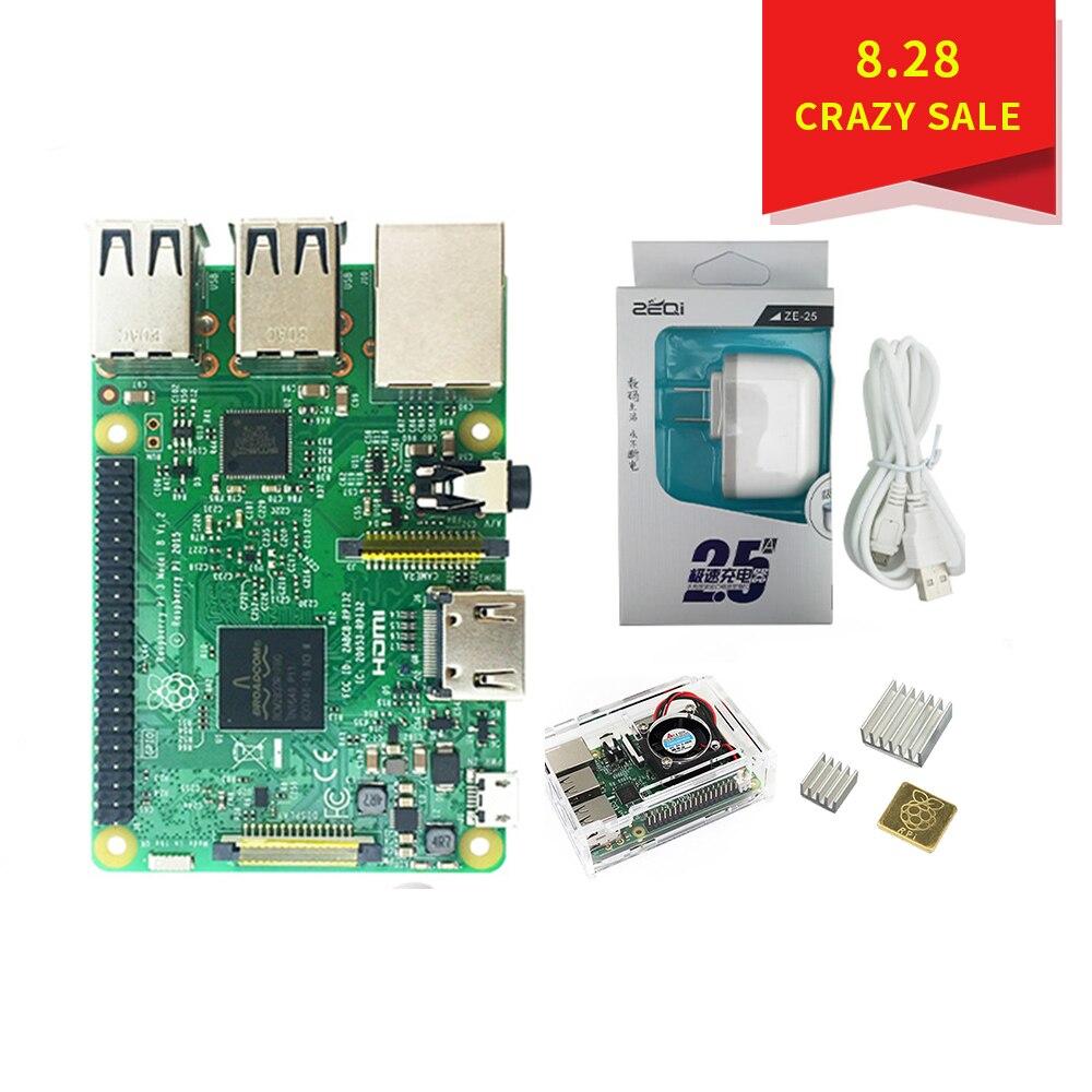 Original Raspberry Pi 3 B Starter Kit + Case with fan + 2.5A US Power Supply +Heat Sink for Raspberry Pi 3 Model B