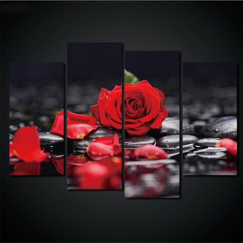 Home Decor Modular Painting Wall Art Pictures 4 Pieces Red Rose Petals Black Pebble Water Drop Living Room Canvas Frames Posters no frame canvas