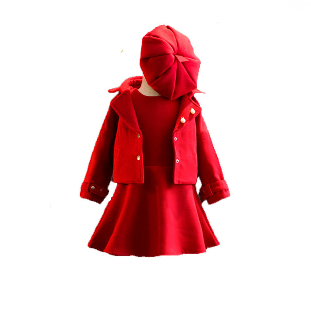 Children Clothing Girls Tracksuits Red Coat Dress Hat 3PCS Baby Girl  Clothing Set For Christmas Party Kids Girls Clothes 37ce78fc3f7