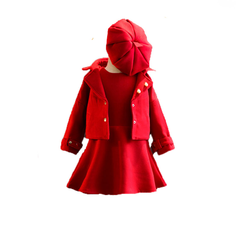 Children Clothing Girls Tracksuits Red Coat Dress Hat 3PCS Baby Girl Clothing Set For Christmas Party Kids Girls Clothes