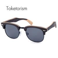 Toketorism Bithday regalo de madera gafas de sol polarizadas de los hombres mujeres half-marco que restaura maneras antiguas de madera occhiali da única 6303