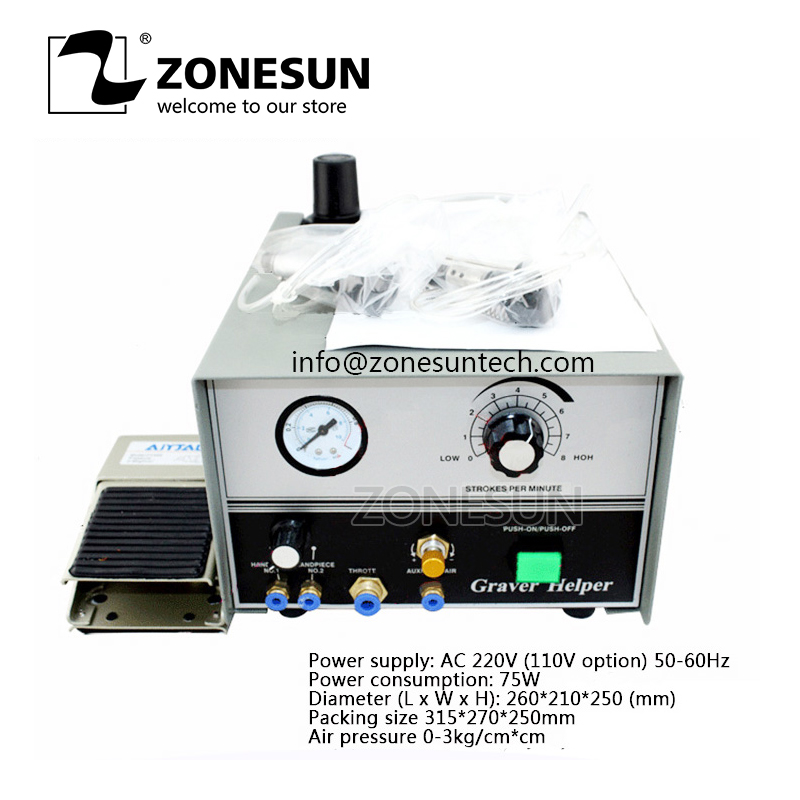 ZONESUN 220 Voltage Graver Helper Pneumatic Jewelry Engraving Machine Single Ended Graver Tool Jewel Making Equipment