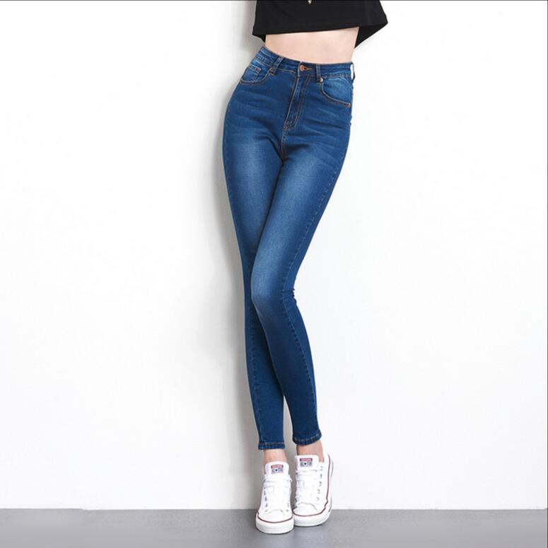 Autumn Fashion The S-6XL High Waist High Elastic Jeans Plus Size Women's washed casual skinny pencil Denim Jeans Women's Pants fashion s xxl autumn high waist jeans