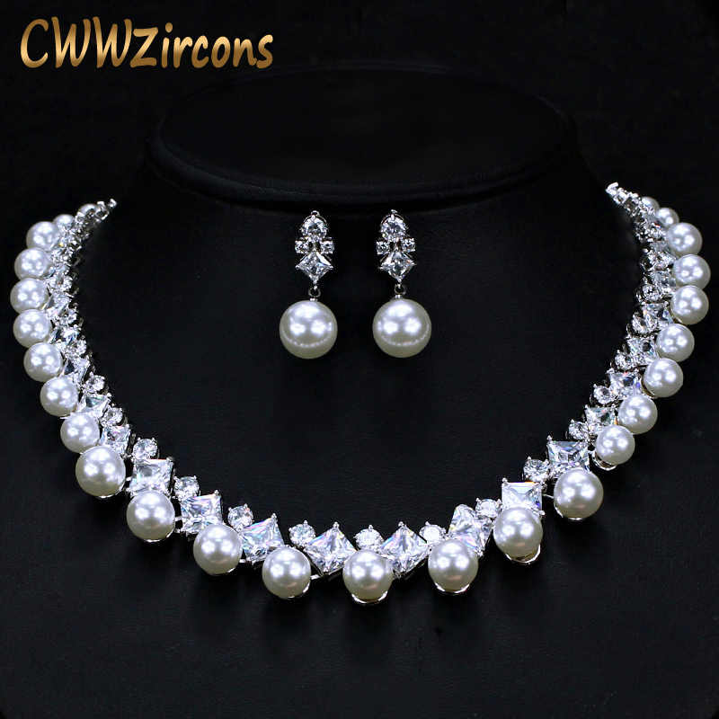 CWWZircons Gorgeous Cubic Zirconia Stone Big Pearl Choker Necklace Earrings Set for Women Wedding Bridal Costume Jewelry T306