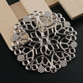 Silver Tone Filigree Flower Wrap Connector 48mm 30Pcs Alloy Charms Base Setting Embellishment