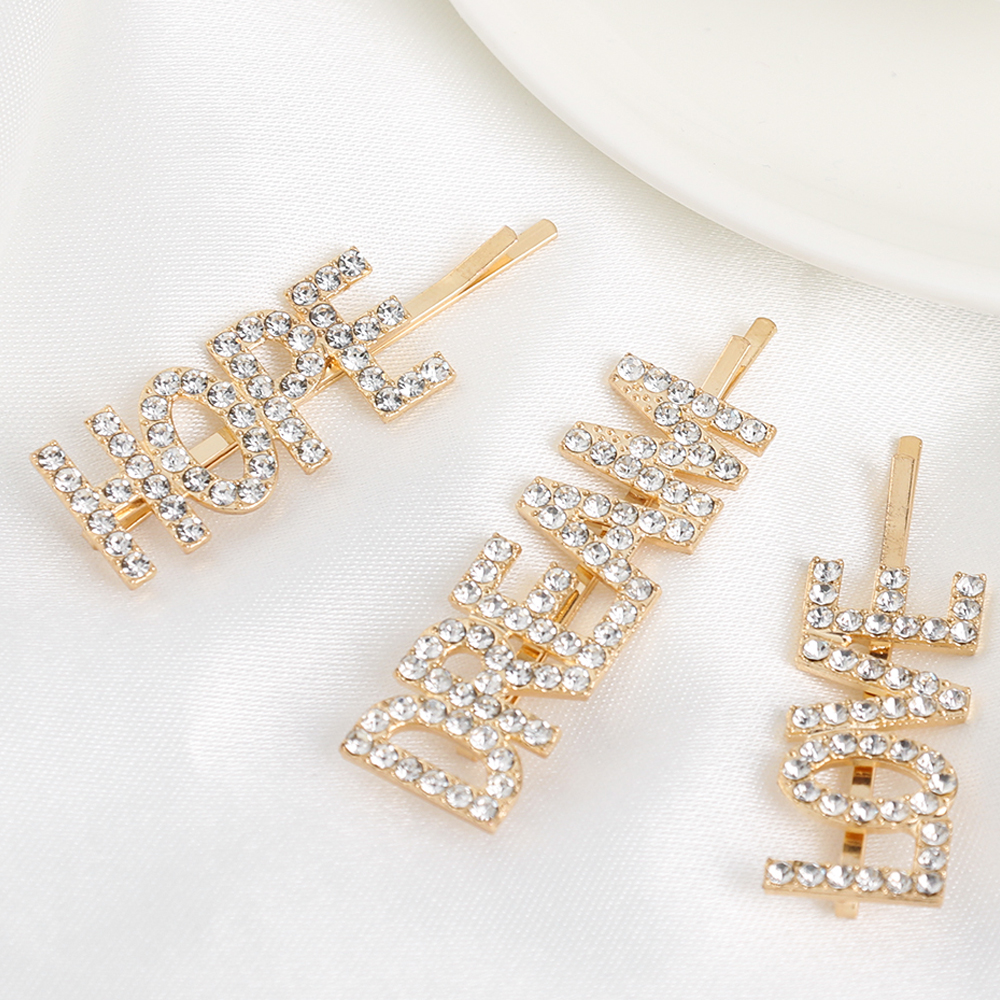 3 Pcs/Set Letter Barrettes Crystal Hair Clips Hairpins For Ladies Girl Wedding Rhinestone Elegant   Headwear   Pins Hair Accessories