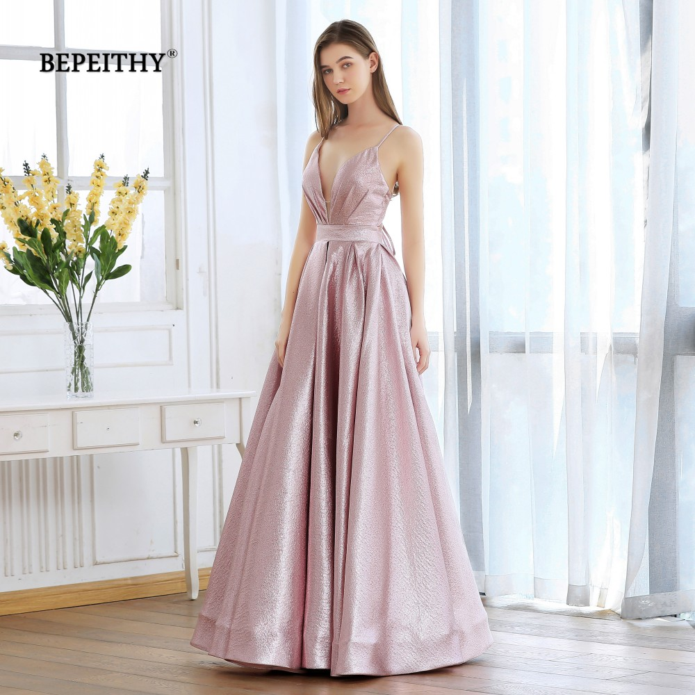 BEPEITHY Pink Glitter Long Evening Dress Party Elegant Sexy Cross Back A line Shine Prom Dresses