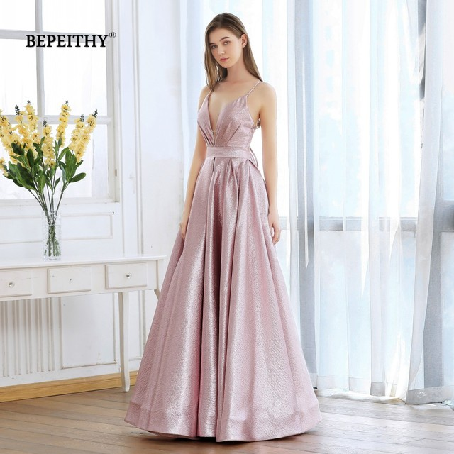 BEPEITHY Pink Glitter Long Evening Dress Party Elegant Sexy Cross Back A-line Shine Prom Dresses Vestido De Festa 2019 New