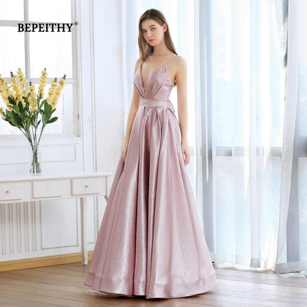 BEPEITHY Pink Glitter Long Evening Dress Party Elegant Sexy Cross Back A-line Shine Prom Dresses Vestido De Festa 2020 New