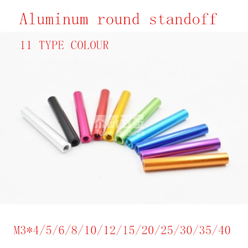 10pcs/lot m3*4/5/6/10/15/20/25/28/30/35/40 colourful Round aluminum standoff spacer Stud Fastener for RC Multirotors 10pcs lot free shipping 3mm aluminum spacer m3 10 15 20 25 30 35 37 40 black anodizing aluminum round standoff spacer long nut