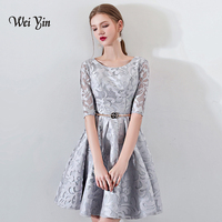 weiyin New Gray Half Sleevelss Cocktail Dress Elegant Embroidery Mini Length Formal Dress Party Gown WY885