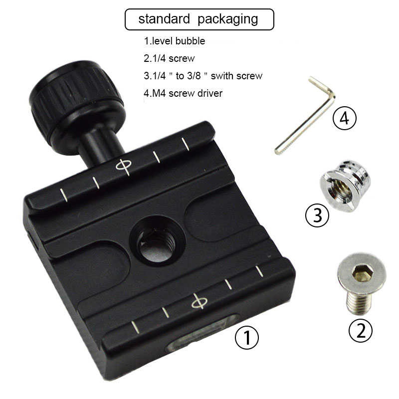 QR-50 Adapter Plate Square Clamp with Gradienter for Quick Release Plate for Tripod Ball Head Arca Swiss RRS Wimberley