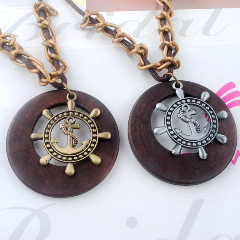 Antique Vintage Long Rope Chain Necklace font b Wooden b font Alloy Rudder font b Pendants