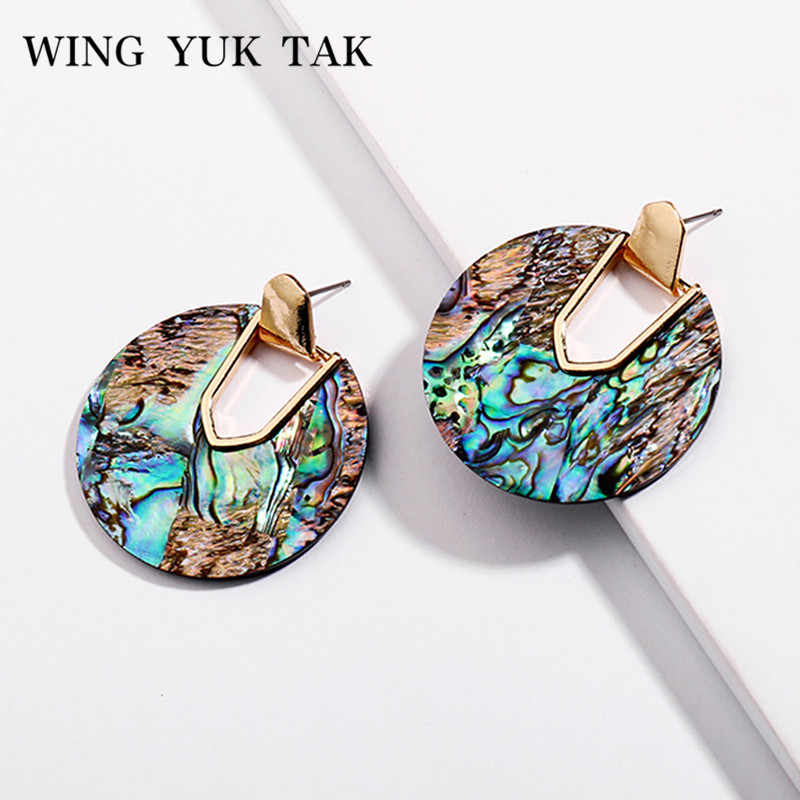 wing yuk tak Vintage Elegant Round Drop Earrings for Women Wedding Earrings Bohemia Fashion Acrylic Jewelry 2018 Bijoux