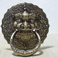 Bronze Wooden Door Vintage Antique Chinese Style Pure Copper Door Knocker 16cm/19cm/21cm Animal Head Vintage Kirin Door Handle
